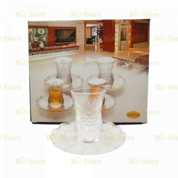 ARMUDU Tea Glasses and Saucers Set - 6 PCS